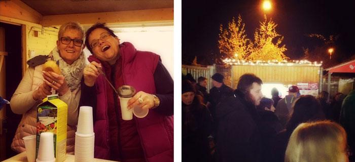 Nicht nur die Würstchen und der Glühwein waren heiß! ;) (Unser Hütten-Team v.l.n.r. Michaela Schwarz und Diana Stibig)